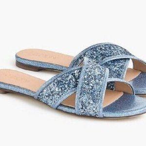 NWT J.Crew Blue Glitter Slipper Slides